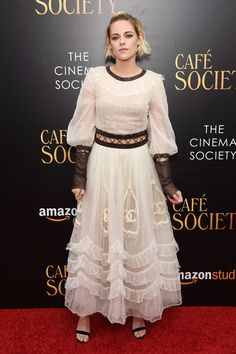 Kristen Stewart Cutout Dress - Kristen Stewart gave off a princess-gone-wild vibe in this white Chanel dress, featuring a midriff cutout, lace-up seams, and black leather trim, at the New York premiere of 'Cafe Society.'