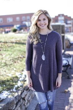 Brush Knit Button Back Top, Eggplant