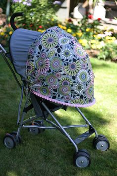 Gorgeous stroller makeover! Adjustable stroller shade/Canopy Reversible by simpleShade $49.95 & Black and White Ombre! Stroller Canopy Stroller Cover Stroller ...