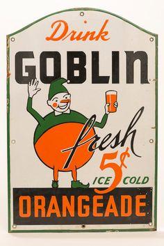 Vintage GOBLIN ORANGEADE Porcelain Sign