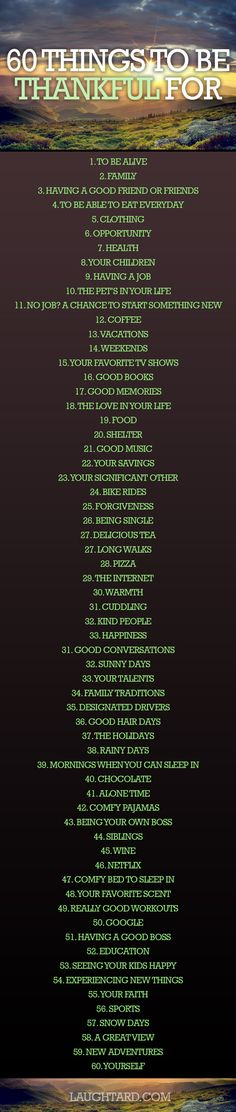 60 Things To Be Thankful For