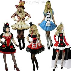 Alice in Wonderland Queen Hearts Mad Hatter Fancy Dress Costume Size 6-22 Womens