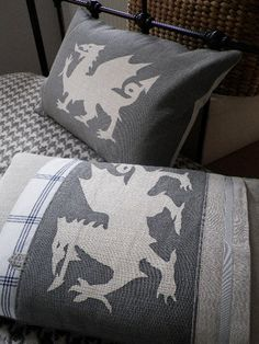 hand printed muted greys dragon cushion cover by helkatdesign