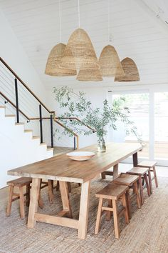 The Surfrider: A California Beach House Hotel - Jessica Design Decor, Rustic Dining, Dining Room Design, Farmhouse Dining Room, House Design, Rustic Dining Room, Dining Room Lighting, House Interior, Wicker Lamp Shade