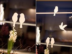 Cut out silhouettes to keep birds away from windows.