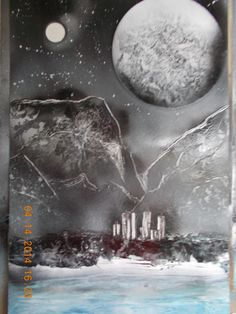 Spray paint space art - black & white w/dash of color.