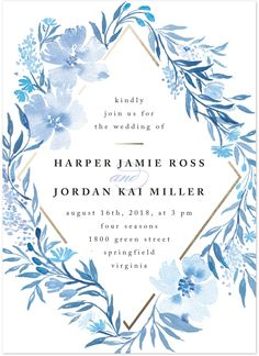 Poetic blue wedding invitations form @minted