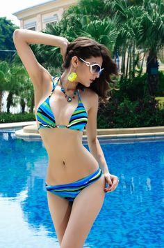 58c695a5f1513 summer Fabulous Strip Print Push-up Bandeau Bikini