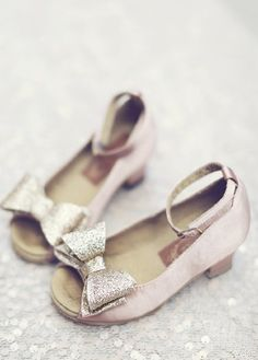 Im SO IN LOVE with these little shoes. SAVANNAH so needs these! Couture Girls Blush Glitter Bow Heel Shoe