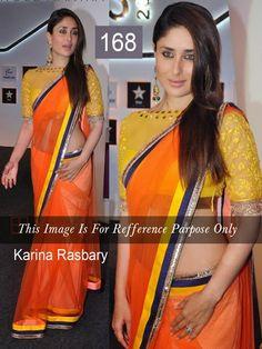 Amazing #KareenaKapoor gorgeous orange bollywood replica #saree shop from #craftshopsindia