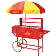 Rce Room-Carnival-style hot dog cart with an umbrella. Features a hot dog roller, beverage cooler, and internal steamers. Product: Hot dog ca. Pretzel Bun, Hot Dog Cart, Hot Dog Stand, Vintage Carnival, Carnival Food, Carnival Ideas, Carnival Birthday, Carnival Booths, Birthday Parties