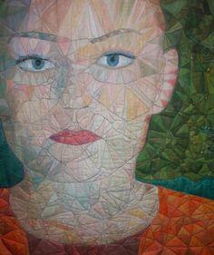 "Geskea Andriessen 2017  Detail uit "" zoals de wind/ like the wind / 2017 textielportret 130x 134 cm textielverf, Artbar, freemotion op katoen"