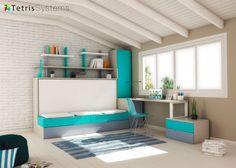 Cama abatible con sofá, nido, escritorio y armario.Elmenut