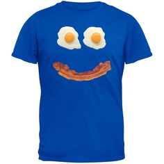 Mr. Happy Smiley Face Bacon And Eggs Blue Adult T-Shirt