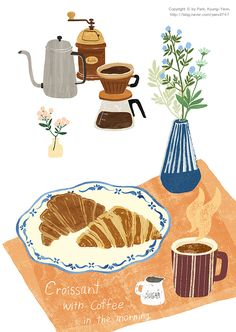 Illustration by Kyung-Yeon Park discovered by Virna Art And Illustration, Illustration Inspiration, Coffee Illustration, Illustrations And Posters, Dessert Illustration, Guache, Cute Art, Art Inspo, Watercolor Art