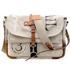 Upcycled Messenger Bag made from US mail bags by a Germany craftsman. My Bags, Purses And Bags, Beautiful Bags, Bag Making, Fashion Bags, Leather Bag, Red Leather, Fashion Accessories, Handbags