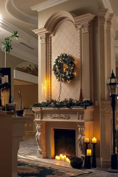 Decorations Fireplace. Lovely Traditional Fireplace Mantel Designs Inspiration: Glamorous Traditional Fireplace Mantel Garland Christmas And Green Natural Wreath Also Candle Lights At Luxury Living Areas Interior Design. groovexi.com