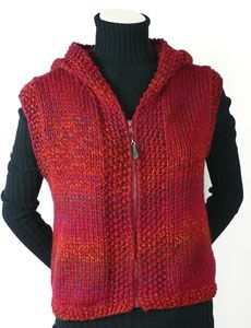 Knitted hoodie vest, free pattern. Website has many other free patterns. @Holland Hawthorne