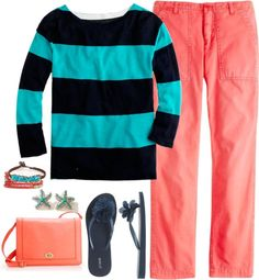 """""""Camp pant in bohemian red & Rugby-stripe tee"""" by m3mom on Polyvore"""