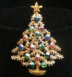 Vintage Weiss Matte Gold and Aurora Borealis Pastel Christmas Tree Pin Brooch #Weiss #Vintage