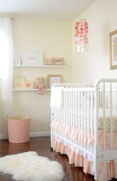 Coral and Gold Nursery - what beautifully styled shelves! #nursery #bigbabybasketsweeps