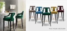 BRABBU | Design Forces - Modern Home Furniture  Velvet Bar Stools: Pick your colour! :)