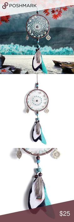 Home decoration blue white dream catcher feathers Very pretty blue brown white and black Dream catcher . Leather , turquoise beads and feathers . Very cute for any room in your house . I ship fast!!!✈️ any questions let me know! No transactions outside Poshmark!! Other