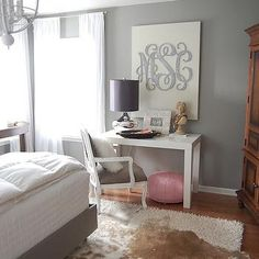 Grey Walls, Contemporary, bedroom, Martha Stewart Flagstone, The Nester