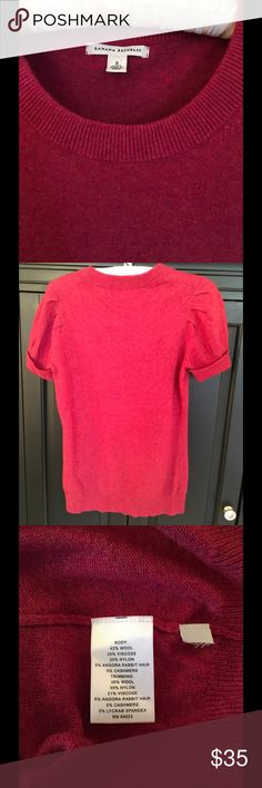 Banana Republic Sweater Detailed short sleeve sweater.  First and third pic are true color. Wool, Rabbit hair and Cashmere blend. Excellent condition!! Banana Republic Sweaters