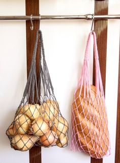 Mini eco bags for kitchen. Set - two bags - Eco bags. Shopping Bag is from natural material. Crochet Market Bag, Net Bag, Produce Bags, Macrame Bag, String Bag, Filets, Reusable Bags, Home Design, Crochet Projects