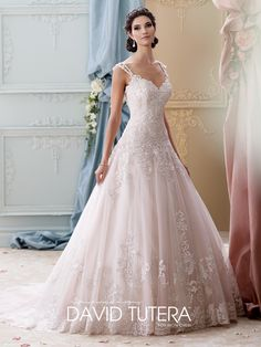 David Tutera for Mon Cheri - 215277 – Arwen - Beautiful pink wedding dress, Sleeveless tulle, organza and hand-beaded embroidered lace ball gown with double lace shoulder straps, sweetheart neckline, drop waist, chapel length train.Sizes: 0 – 20Colors: Ivory/Tea Rose, Ivory, White/$1500