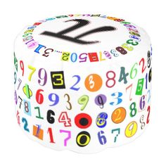 Fun and Colorful Depiction of Pi Calculated Round Pouf. #pi #math #numbers #mathgeek #poufs