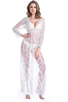 Awesome Deceny CB Women Sexy Lace Lingerie Bridesmaid Long Gown with Sleeves Deep V Dress