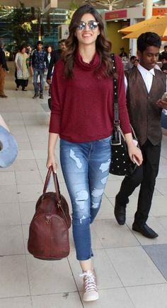 Spotted: Alia Bhatt, Sidharth Malhotra at the Mumbai airport Kriti Sanon at the Mumbai airport. Casual Indian Fashion, Look Fashion, Trendy Fashion, Fashion Beauty, Casual Work Outfits, Trendy Outfits, Cool Outfits, Fashion Outfits, Bollywood Celebrities