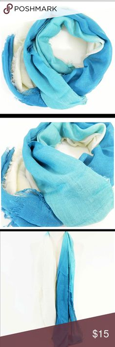 """Ombré Blue and Ivory with Frayed Ends Scarf Color:  blue and Ivory;  dimensions:  26""""x 70"""";  100% viscose;  very soft;  dry clean;  ombré Accessories Scarves & Wraps"""