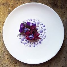 Octopus, purple cabbage jelly, amaranth, borage flower and purple cabbage mayonnaise.