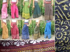 VTG RETRO THAI COTTON HANDMADE print HIPPIE BOHO FLORAL maxi skirt pants KAPENG