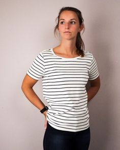 tshirt Andy & Lucy navy stipes / beige @ Paleis