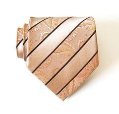 Mens Necktie  Taupe Paisley Silk Tie by TieObsessed on Etsy