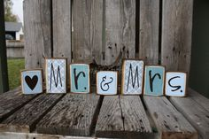 7  piece Personalized Wedding MR and MRS Name Wood Block Set . . . great for wedding home decor primitive gift personalized wood sign. Katie we can make this in your colors for your table???