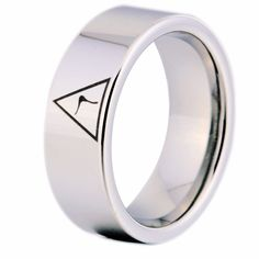 YGK Brand 8MM Width 14th Degree MASONIC Silver Color Pipe Cut Tungsten Carbide Ring for Man and Woman's Wedding