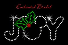 Disney Inspired Joy With Holly Iron On Christmas Winter Rhinestone Transfer DIY