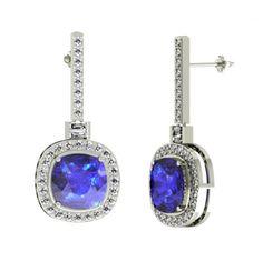 4.2ctw Cushion Tanzanite Earring With 1.35ctw Diamonds in 14k White Gold - toptanzanite.com