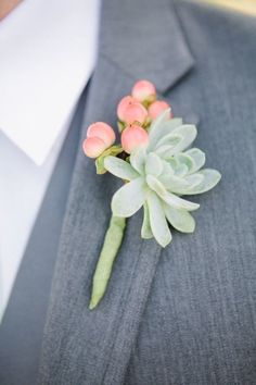 Spring Succulent Boutenieres -   Spring Inspiration: 40 Pretty & Pastel Wedding Details - Divinedetails.ca