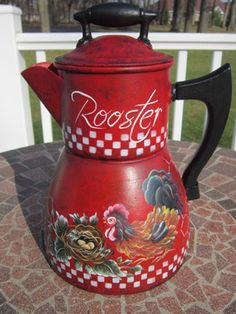 Awwwesome hand painted coffee pot with wooden knob on top and on side. 10 in tall. HP by Andrea