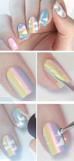 Almond-Shaped, Acrylic Nails Tutorial for Spring - Ladys Beauty 2019 Gel Nail Art, Nail Art Diy, Easy Nail Art, Acrylic Nails, Diy Pretty Nails, Simple Nails, Fun Nails, French Nail Designs, Best Nail Art Designs