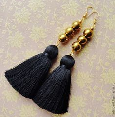 Tassel Jewelry, Fabric Jewelry, Wire Jewelry, Jewelry Crafts, Beaded Jewelry, Jewelery, Bead Earrings, Tassel Earrings, Fashion Earrings