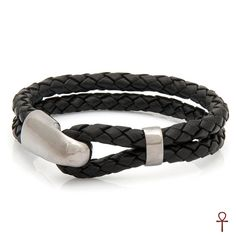 Black Leather Silver Men Bracelet #men #bracelet #silver #black #leather