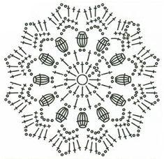 How to crochet a mini umbrella. Supplies: Cotton yarn Crochet hook mm Seed beads Hot glue gun Scissors Topthpicks Long bamboo cocktail stick Using Crochet Stitches Chart, Crochet Symbols, Crochet Motifs, Crochet Diagram, Crochet Doilies, Crochet Flowers, Crochet Patterns, Mandala Au Crochet, Crochet Snowflake Pattern