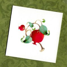 card set gift note pomegranate christmas stocking by atticEditions, $8.50